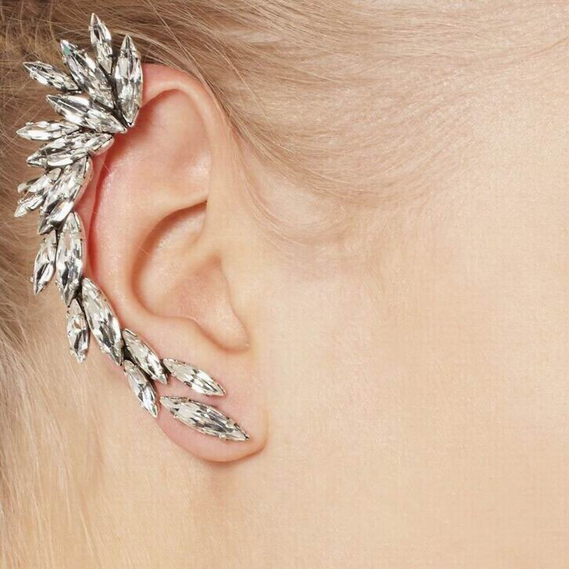 Punk en forme de plume en cristal forme unique clip sur boucle d/'oreille