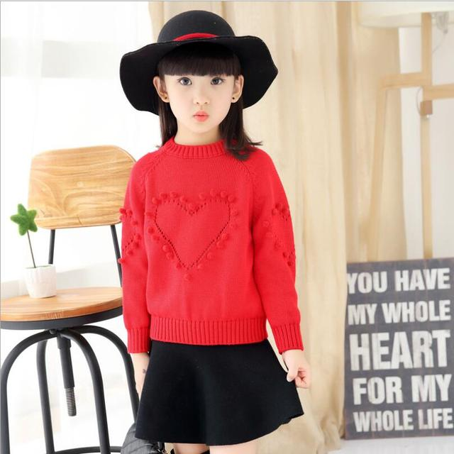 Solid Color Sweater For Girls Autumn Love Pattern Sueter Infantil Warm Children's Knitted Sweater With An O-neck Collar Pullover