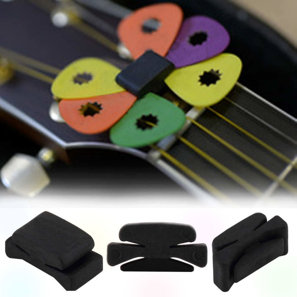 2017 Wholesale 1Pc Professional Guitar HeadStock Pick Holder Rubber Musical instruments for Guitar Bass Ukelele Drop shipping