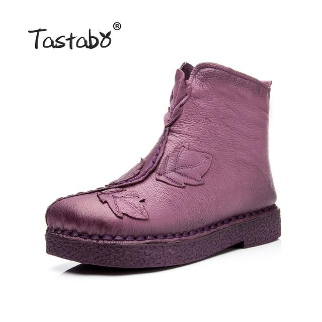 Tastabo 2017 Зимние женские ботильоны ручной работы бархатные ботинки на плоской подошве обувь в народном стиле Стиль удобная повседневная обувь женские зимние ботинки
