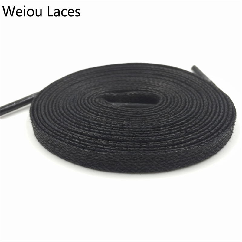 Weiou Unisex 100% Cotton Waxed Shoe Laces Waterproof Shoelaces For Casual Shoes Dress Boots Flat Wax Widen Shoelaces 8mm Width