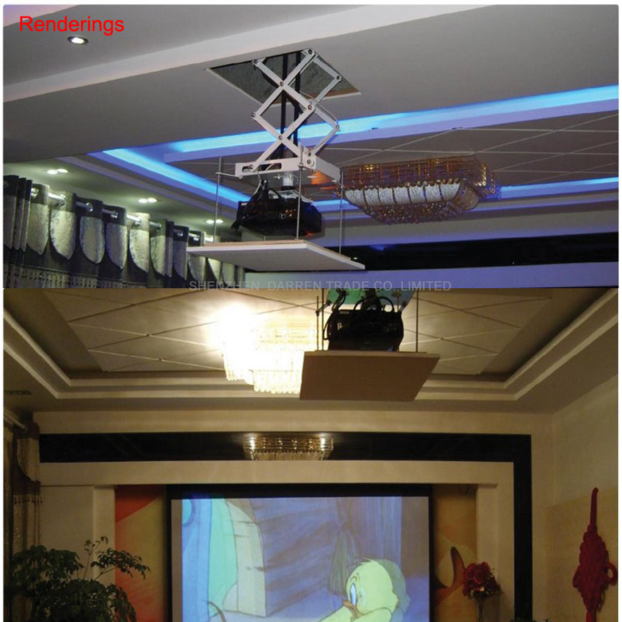 Купить с кэшбэком Projector Lift Projector Bracket Holder Stand Electric Motorized Projector Ceiling Mount Hanger With Remote Control 70CM