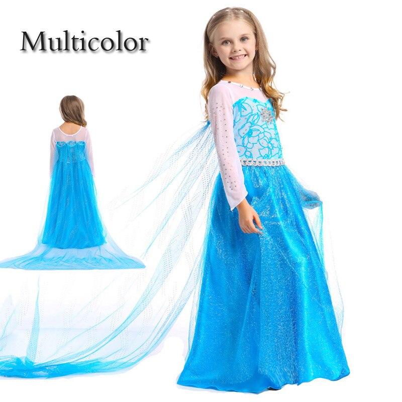 Princess Anna Elsa Dress Cosplay Costume Custom Kids Princess Dress Sequined Cotton Costume Baby Girls