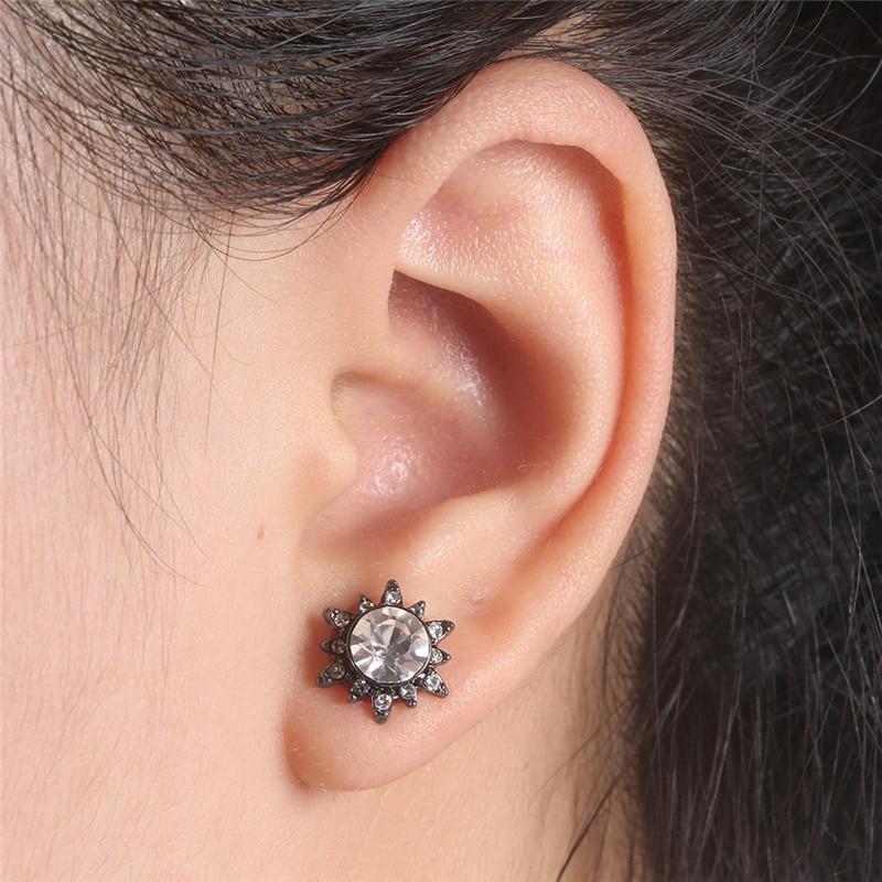 BOAKO Fashion Flower Earrings Rhinestone Crystal Gun Black Filled Ear Stud Earrings For Women Girls Party Jewelry pendientes