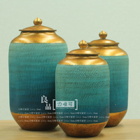 High end porcelain American country decorative ceramic pots blue with gold ceramic pot pot General Decoration