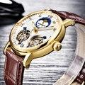 BINSSAW Neue Männer Doppel Tourbillon Automatische Mechanische Uhr Mode Luxus Marke Leder Gold Sport Uhren Relogio Masculino