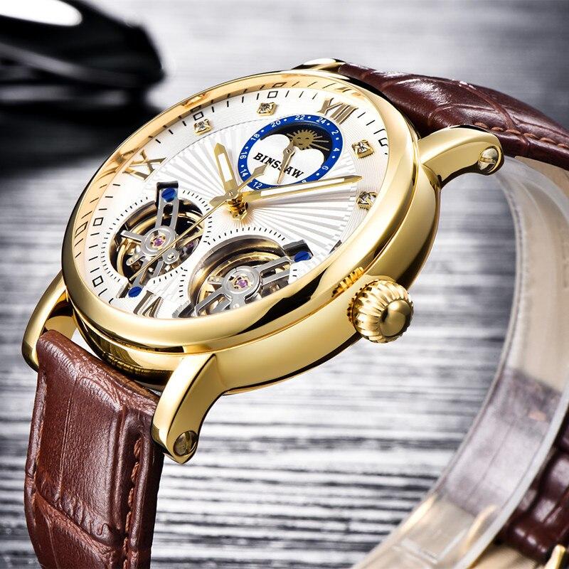 BINSSAW nouveaux hommes Double Tourbillon automatique montre mécanique de mode de luxe marque en cuir or Sport montres Relogio Masculino