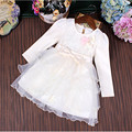3 to 9 Yrs Girls Clothes Girl Dress Princess Roupas Bow Infantis Menina Flowers Girls Sequined Layered Dresses Beige Pink