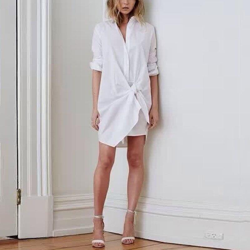 Décontracté été blanc col rabattu à manches longues lâche Blouse nouvelle mode à lacets femmes Top - 3