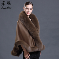 Brown Pashmina Cashmere Coat Pashmina Shawls with Fur Pashmina Wool Scarf Fox Fur Collar Poncho Wrap Outwear Real Fur Coat