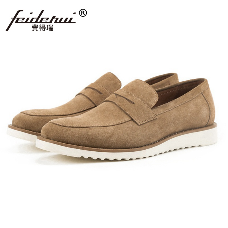 Fashion Round Toe Slip on Man Flat Platform Casual Shoes Cow Suede Leather Men's Basic Handmade Outdoor Moccasin Loafers SS296 round toe suede slip on plimsolls
