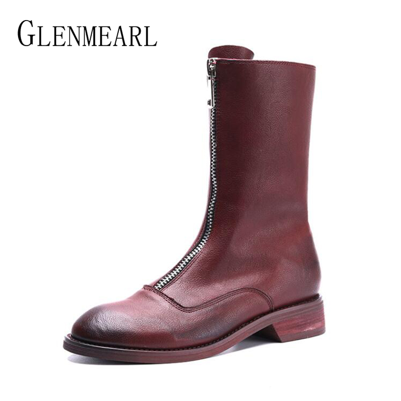 Women Boots Genuine Leather Shoes Ankle Boot Female Winter Autumn Casual Ladies Shoe Round Toe Platform Zipper Shoes Plus Size huizumei new genuine leather women s boots autumn and winter shoes retro handmade round toe soft bottom rubber ankle ladies boot