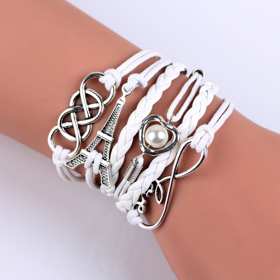 Madame Jewelry New Infinity Love Heart Eiffel Tower Friendship Leather Charm Bracelet Silver