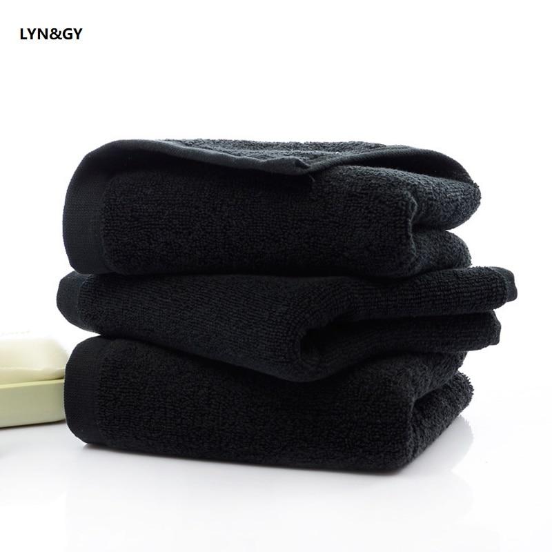 Nuovo 2/3 pz/lotto Super Soft 100% Cotone Solido Nero A Mano Tovagliolo di Fronte toallas Alta Qualità Walsh Panno Bagno uomini Asciugamani di Spugna