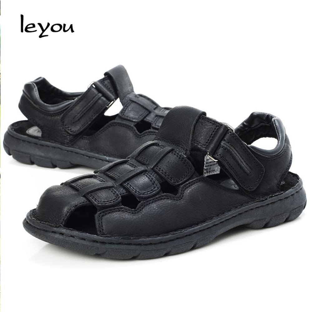 a0f384df111 Leyou New Men Vintage Sandals Summer Shoes Dad s Gift Genuine Leather Sandals  Men s Gladiator Sandals Shoes Casual Summer-in Men s Sandals from Shoes on  ...