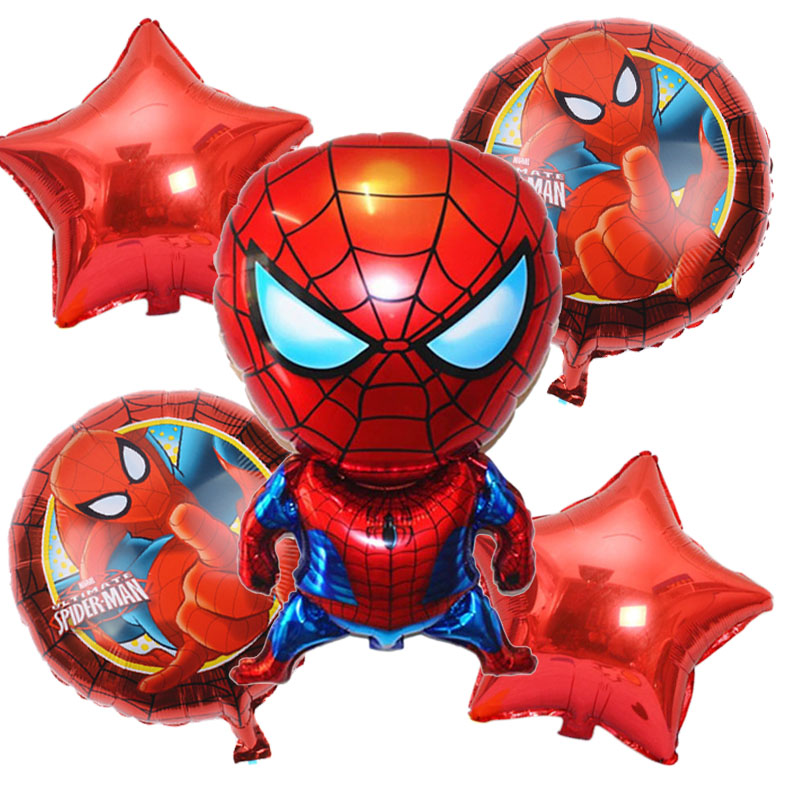 5pcs/lot Spiderman Balloon Spiderman Birthday Party Inflatable Helium Foil Balloons Boy Superman Birthday Party Decoration Balls