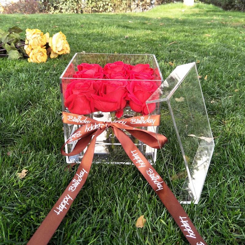 Mordoa Acrylic Flowers Box Rose Keep Fresh Box Water Jets For Flowers Rose Gift Jewelry Display Jewelry Rose Storage Box Flowers