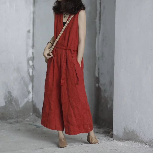 71077463975 Women Vintage Loose Solid Color Linen Jumpsuit Pants Ladies Retro Flax  Overalls Rompers Female Summer Trousers 2018