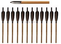 12 pieces archery hunting bamboo arrows with 5 inch black turkey feather archery arrows with target tip