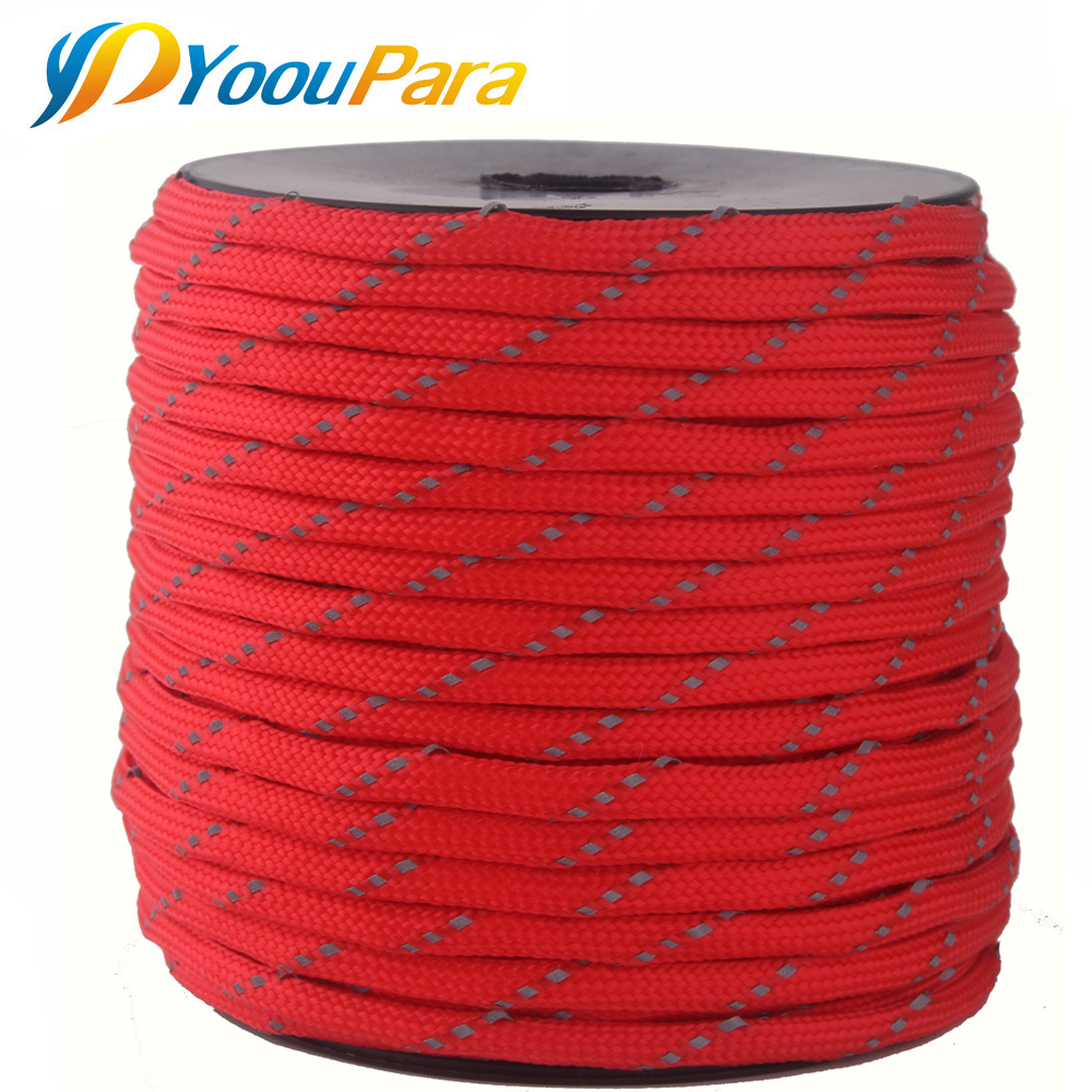 50 Meters Spools Reflective Paracord 10 Color 7 Strand Parachute For Outdoor Campling Tent Wind Rope Survival Emergence Cord