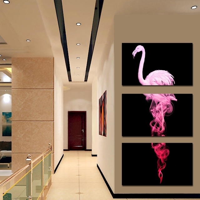 HD Printed Paintings On Canvas Living Room Home Decor 3 Pieces Abstract Pink Flamingo Posters Modular Animal Pictures No Framed