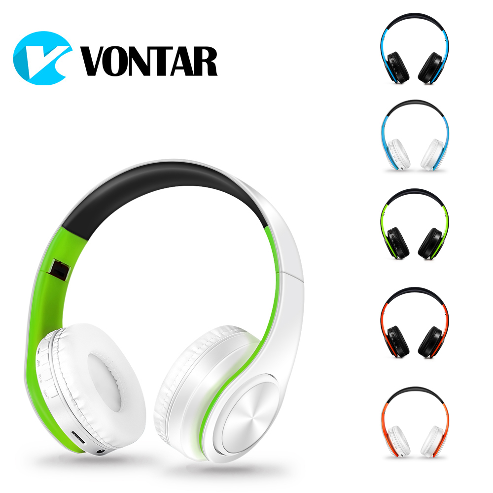 VONTAR Bass On-ear Headsets Wireless headphones Bluetooth 4.0 with microphone support TF FM Noise Cancelling For MP3 Phones merrisport bluetooth headphones with microphone over ear foldable portable music bass headsets for iphone htc cellphones laptop