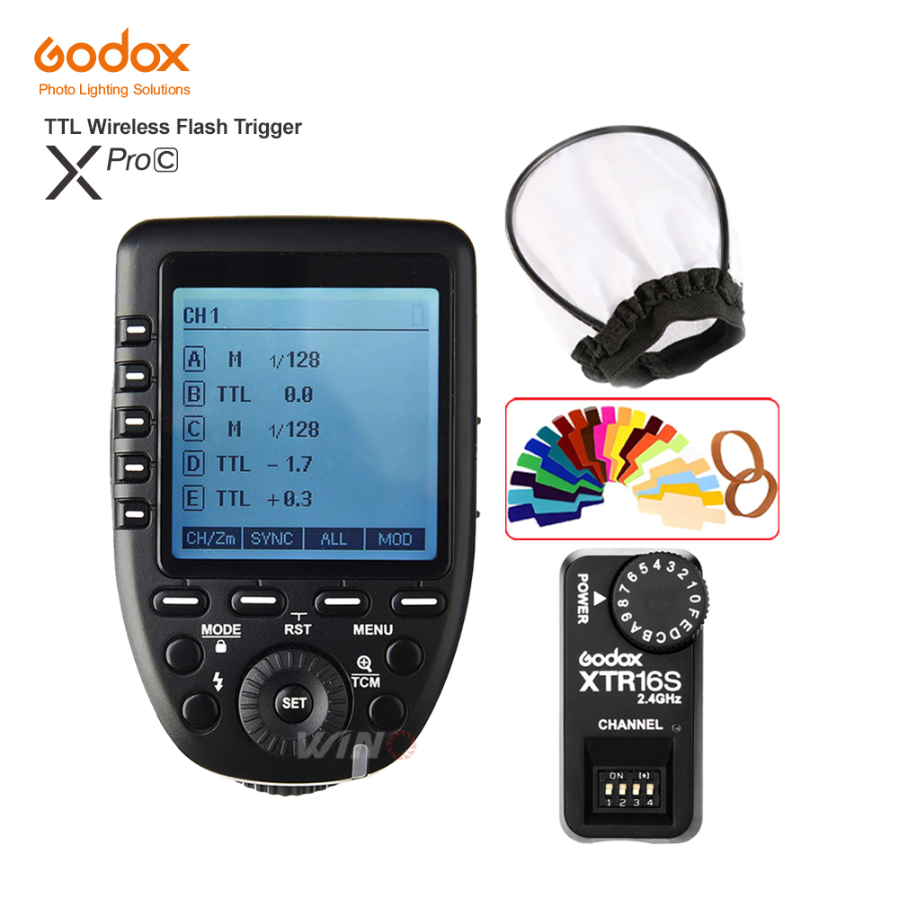 цены Godox XPro-C Flash Trigger Transmitter E-TTL II 2.4G Wireless X System HSS+XTR-16S Receiver for Canon For Godox VING V860C V850C