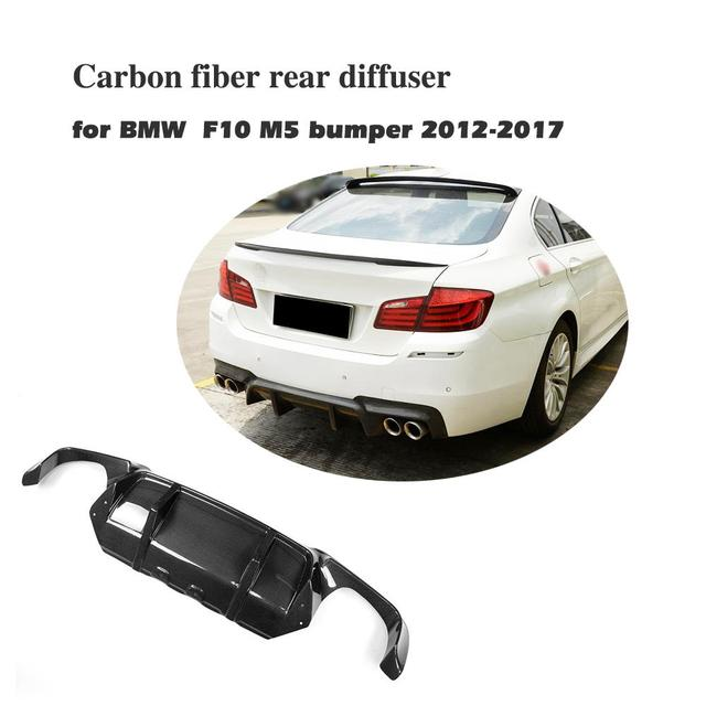Carbon Fiber Rear Bumper Diffuser Lip Spoiler For BMW 5 Series F10 M5 Sedan 2012 2017 Car Tuning Parts