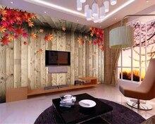 Beibehang Custom photo wallpaper mural retro nostalgic romantic fashion maple leaf Wood grain papel de parede 3d