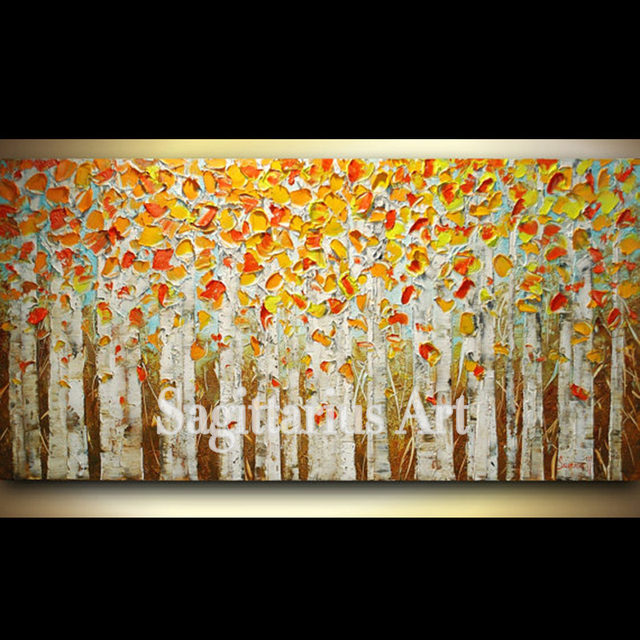 Hand Painted Wall Art ABSTRACT Birch Trees Impasto Wall Decor Red ...