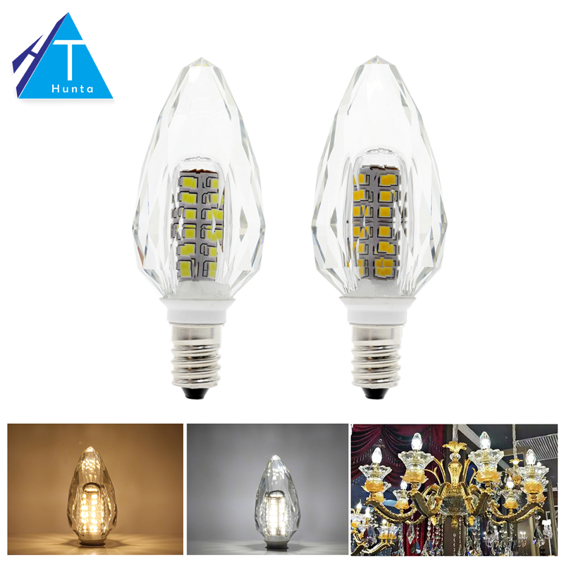 K5 Crystal E14 LED Candle Bulb Lamp AC220V 2835 Chip White / Warm White Chandelier Pendant Lamps k5 crystal e14 led bulb light candle lamp ac220v 4w white warm white chandelier pendant lamp