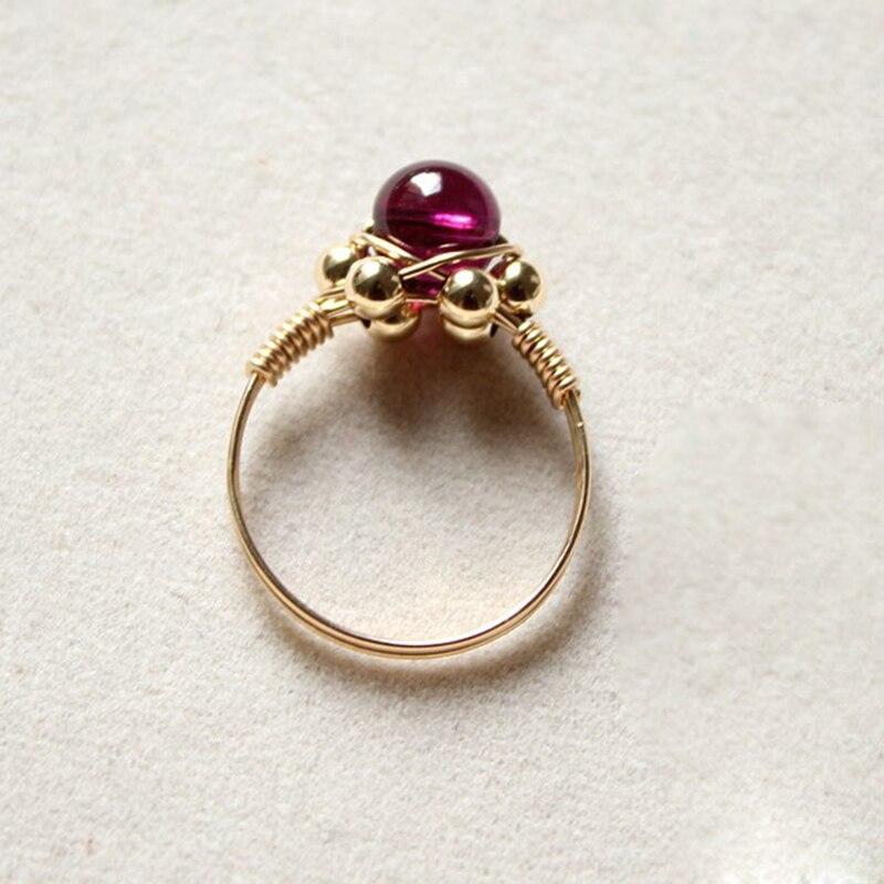 Fait à la main naturel 5A grenat anneaux personnalisé 14 or rempli cadeau d'anniversaire personnalisé Anillos Mujer Bague Femme anneaux pour les femmes - 4