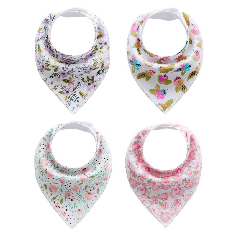 4pcs/Sets Multi-function Baby Bibs Saliva Towel Cartoon Animal Printed Cotton Burp Clothes