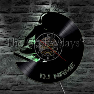Image 3 - 1Piece DJ Personalized Custom Name Vinyl Record Wall Clock Modern Lamp Wall Watch LED Night Light Rock N Roll For DJ Gift