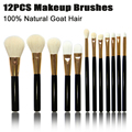 Professional 12PCS Makeup Brush Set 100% Goat Hair Brushes Kit For Face Eyes Lip Natural Soft Hair High Quality Cosmetic Tool