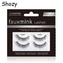 Shozy 2pairs/set Handmade Faux Mink Eyelashes Reusable Lashes Natural 3D Popular for Makeup-FX861