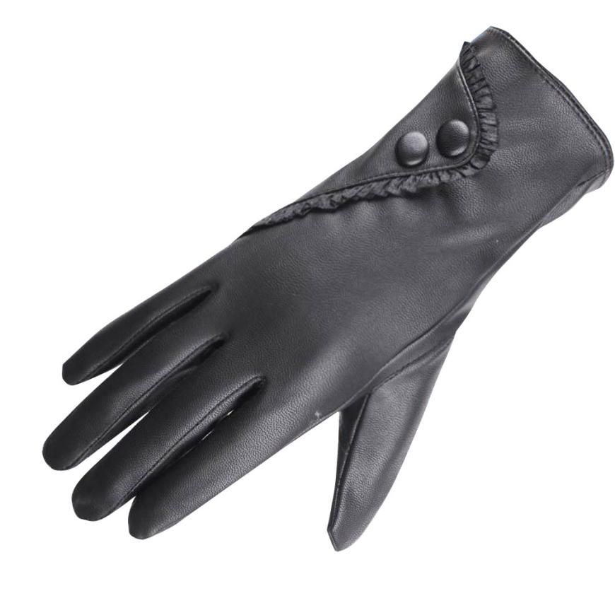 cd206dd1f 2018 fashion High Quality Elegant Women Genuine Lambskin Leather Gloves  Autumn And Winter Thermal Hot Trendy Female Glove