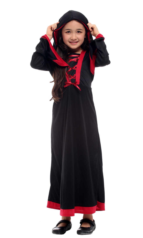 Shanghai Cerita Anak-anak Gadis Gothic Penyihir Kostum untuk Halloween Natal Karnaval Topeng Anak-anak Penyihir Cosplay Gaun