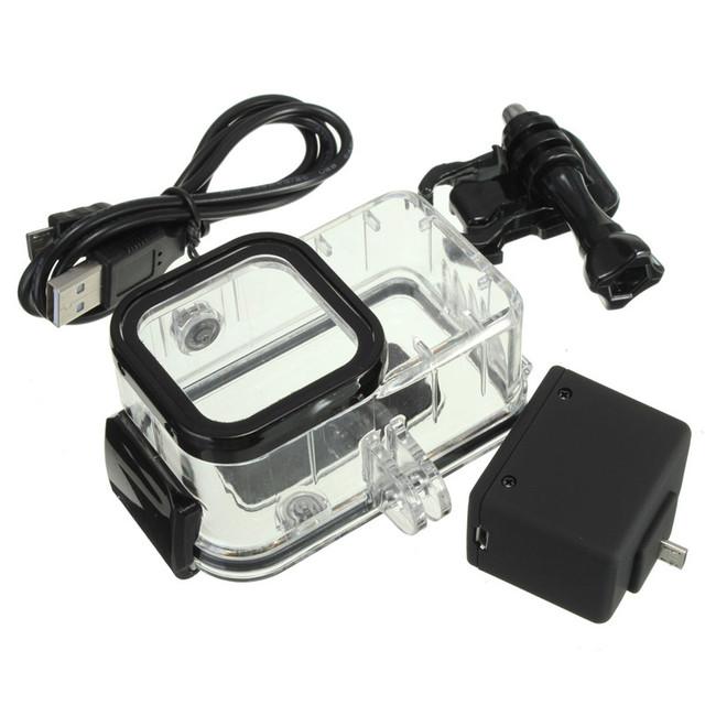 Mochila bateria externa + caso da habitação à prova d' água kit set para gopro hero 4 session para o surf mergulho mergulho