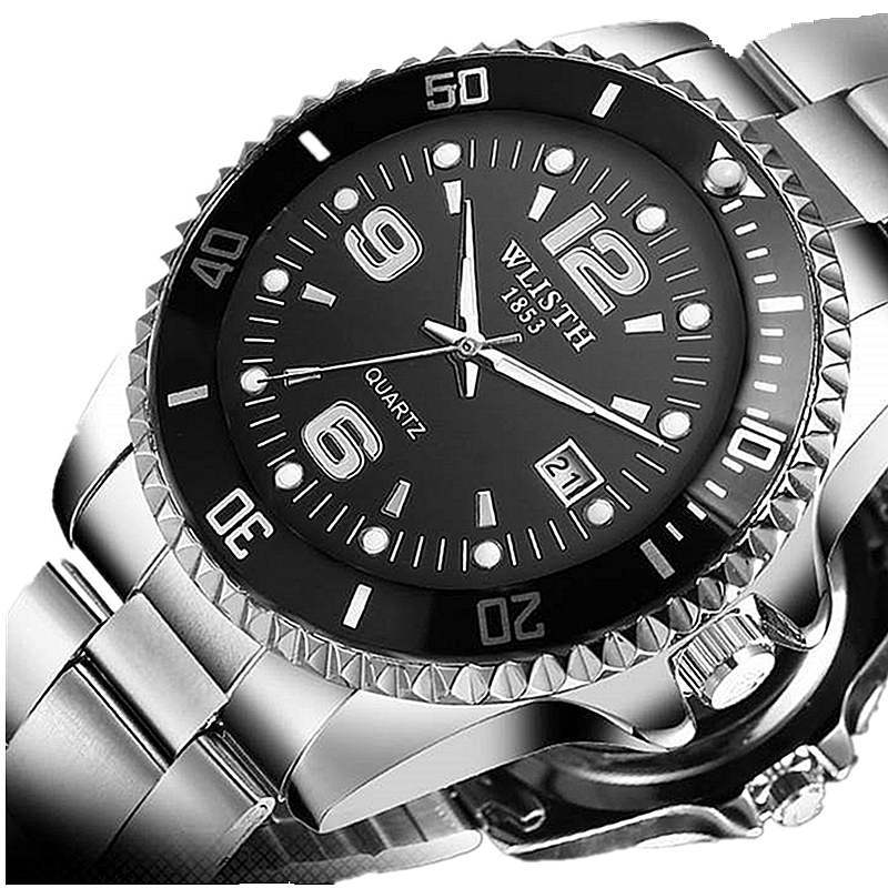 WLISTH Authentic Men Watch Fashion Sports Quartz Clock Watchband Stainless Steel Man Male Wrist Watches Waterproof Business 2018 100% authentic kingnuos men watch fashion couple high quality quartz clock watch band stainless steel man waterproof wrist watch