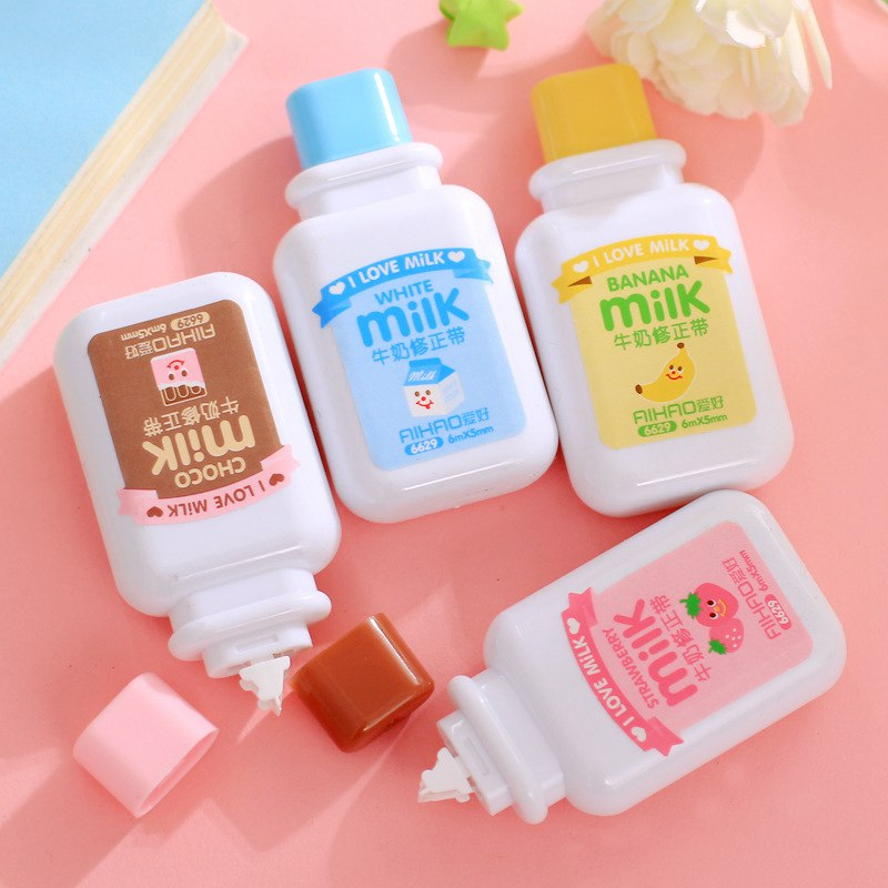 Cute 1pc Milk Bottle Milky Correction Tape Kawaii White Out Stationery Office School Supplies Material Escolar Color Random