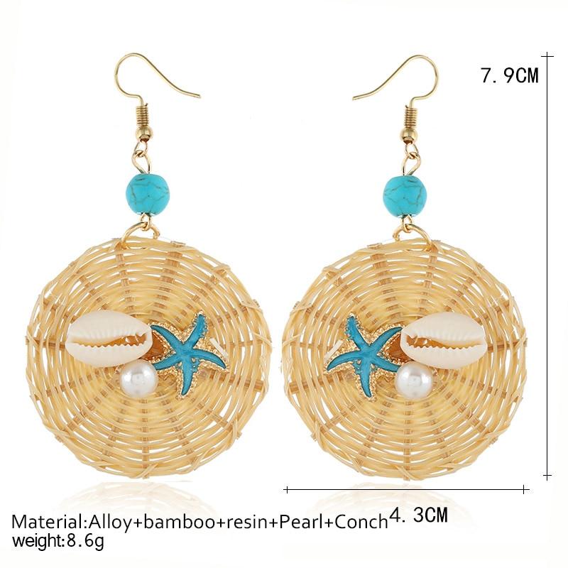Fashion Korea Handmade Wooden Straw Weave Rattan Vine Braid Drop Earrings New Fashion Geometric Long Earrings Women Jewelry