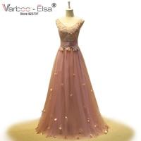 VARBOO_ELSA Women Dress Evening Long Elegant 2018 V Neck Applique Crystals A Line Dress Evening Dresses Pink Prom Dresses 2018