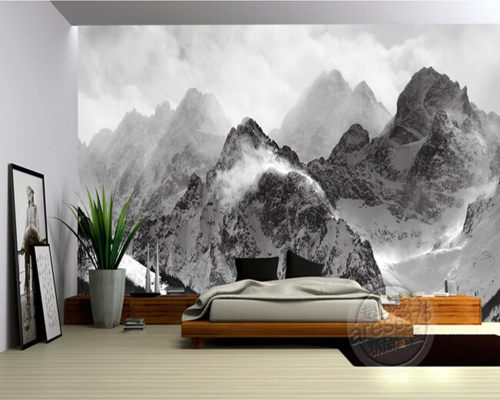The latest 3D wallpaper, black and white mountains and clouds de parede Papel, the sofa wall bedroom wall paper higher calling road cycling's obsession with the mountains
