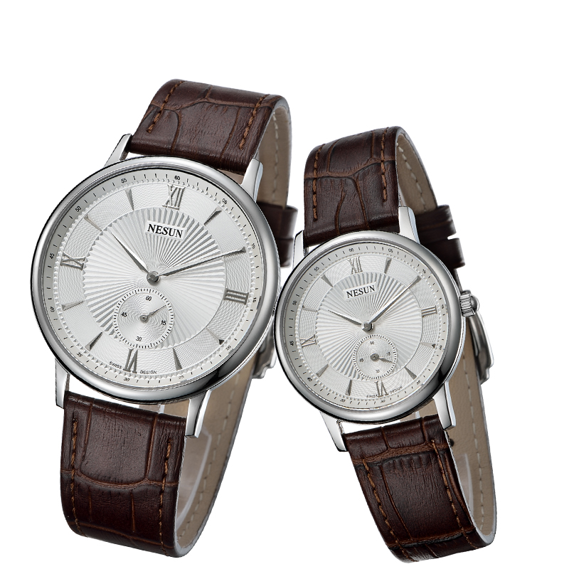 цены Nesun Switzerland Luxury Brand Watch Women Japan MIYOTA Quartz Movement Men's Watches Genuine Leather Couple's clock N8501-LL1