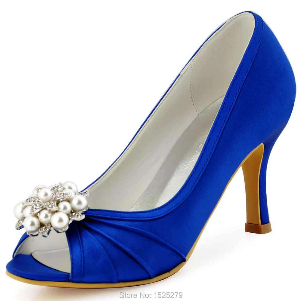 EP2094AE Navy blue Teal Evening Women Bride Bridesmaids Bridal Party Pumps High Heel Satin Peep Toe Pearls Flower Wedding Shoes hp1541 teal navy blue women bride bridesmaids peep toe prom pumps low heels satin lace rhinestones wedding bridal party shoes