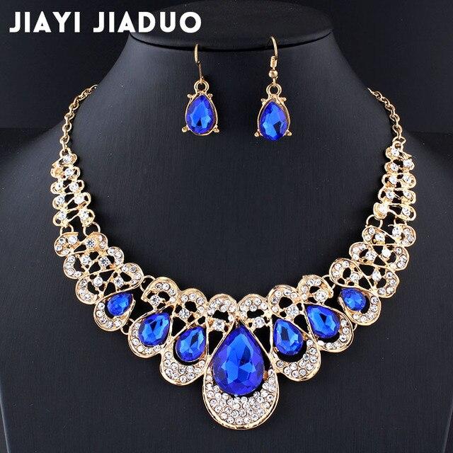 Jiayijiaduo conjunto de joyería de la boda azul marino collar de cristal pendientes para el encanto de las mujeres de oro de la joyería de regalo de color gota envío