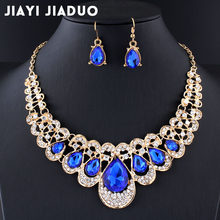 jiayijiaduo Wedding jewelry set Navy blue crystal necklace earrings for the charm of women jewelry Gold color gift drop shpping(China)