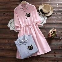 Womens Sweet Kawaii Shirt Dress Mori Girls Turn Down Collar Casual Lolita Dress Full Sleeve Vestidos