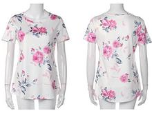 O -Neck Casual Loose Blouse Tops Fashion Women Clothing Ladies Summer Printed Flower Short Sleeve